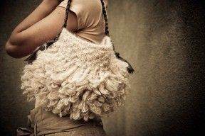 One of the first Eva handbags from cowgirlblues. Loop-knit in various wool and mohair combinations. Leather handles, fabric lined with a metal snap closure, zip available on request.