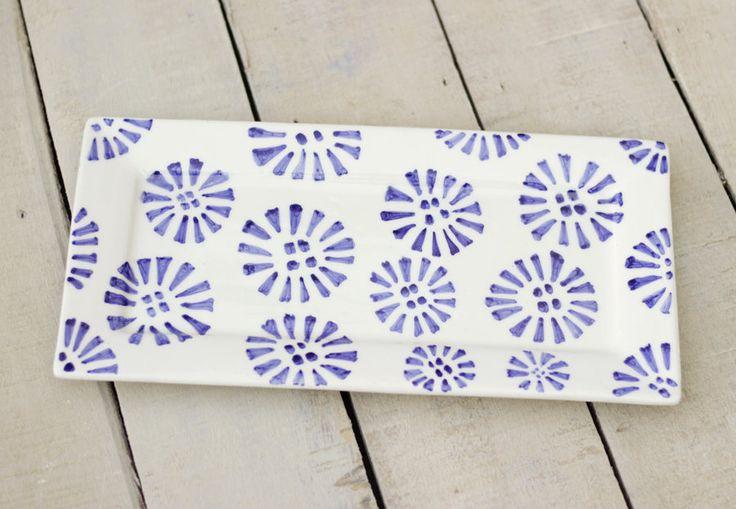 Bandeja decorativa rectangular, fuente cerámica azul, fuente rectangular, cerámica y alfarería,  cocina, decoración hogar, mayólica de taniatterranova en Etsy