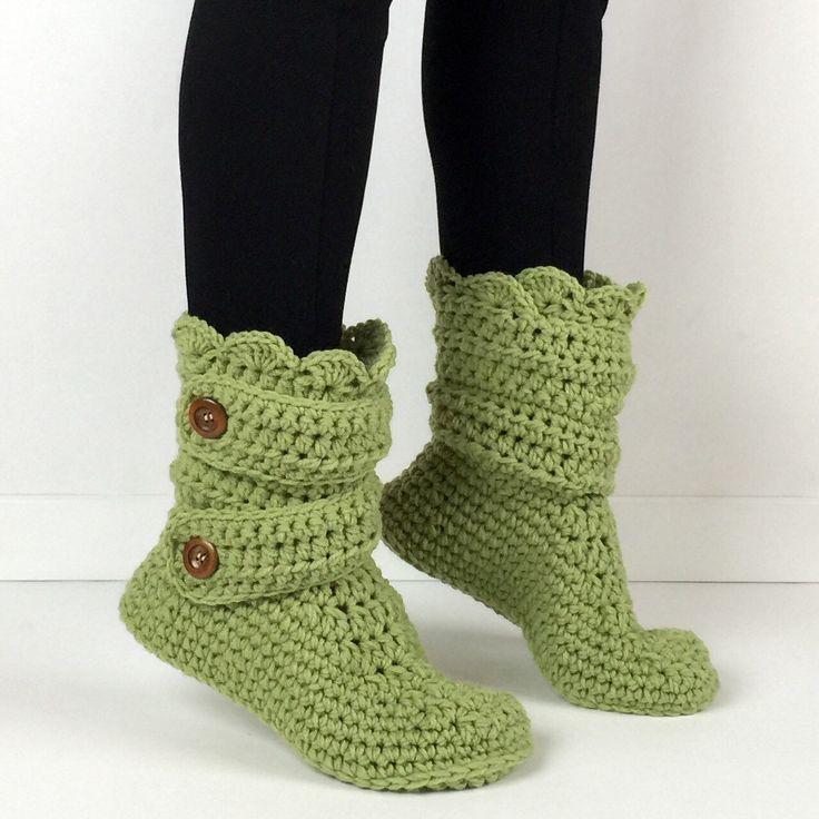Women's Crochet Kiwi Green Slipper Boots, Crochet Slippers, Crochet Booties, Crochet House Shoes, Crochet Winter Boots, Green Knit Slippers by StardustStyle on Etsy https://www.etsy.com/listing/185011393/womens-crochet-kiwi-green-slipper-boots