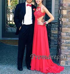#promdress01 prom dresses, 2015 elegant red lace open back sleeveless A-line long prom dress for teens, ball gown, occasion dress -> www.promdress01.c... #coniefox #2016prom