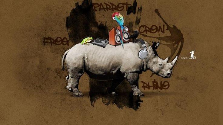 Graffiti Rhino with Parrot