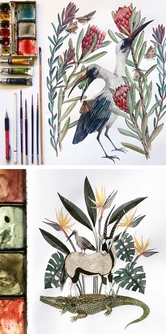 Illustrations by Georgina Taylor #birdillustration #sketchbook #gouachepainting #animalart
