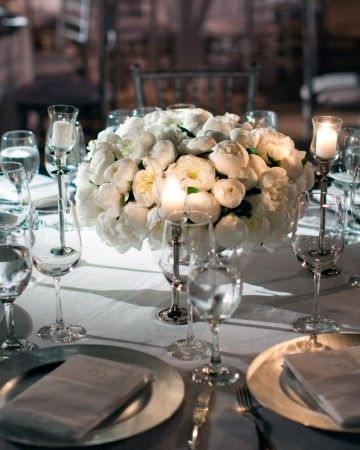 Lovely and simple white peony wedding centerpieces l Martha Stewart Weddings
