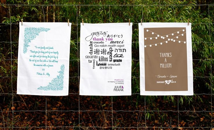 Wedding favour/thank you Tea Towels by 'Expressions-the tea towel company'