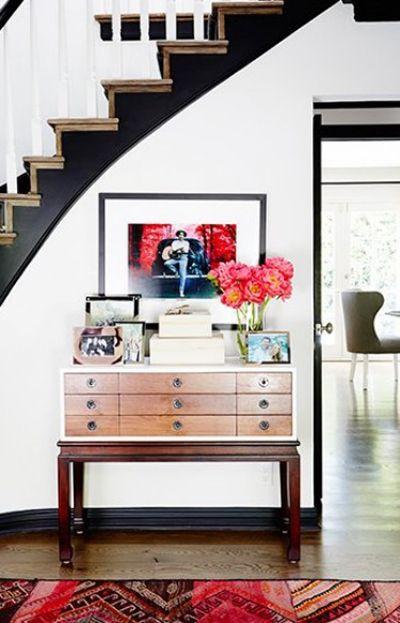 Ebony baseboards, stairs