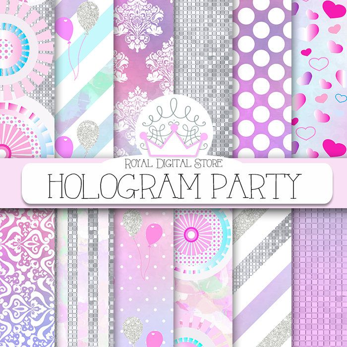 """Unicorn party digital paper: """" HOLOGRAM PARTY"""" with unicorn backgrounds, watercolor patterns for party invitations, planners, cards #partysupplies #watercolor #digitalpaper #scrapbookpaper #wedding #planner #rainbow #damask #pink"""