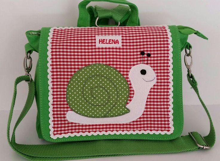Kindergartentaschen - Kindergartentasche Schnecke mit eigenem Namen - ein Designerstück von stoffschmiede bei DaWanda