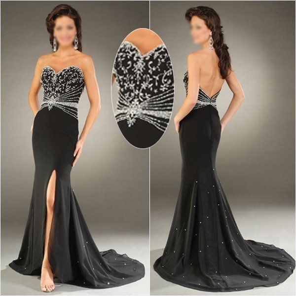Black Wedding Gown Designers: Black-White-Silver-Embroidery-Beaded-Long-Prom-Dress