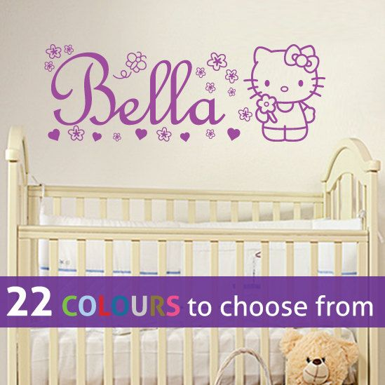 Custom Name Personalised HELLO KITTY Wall Sticker Decal Art With Flowers,  Hearts And Butterfly For