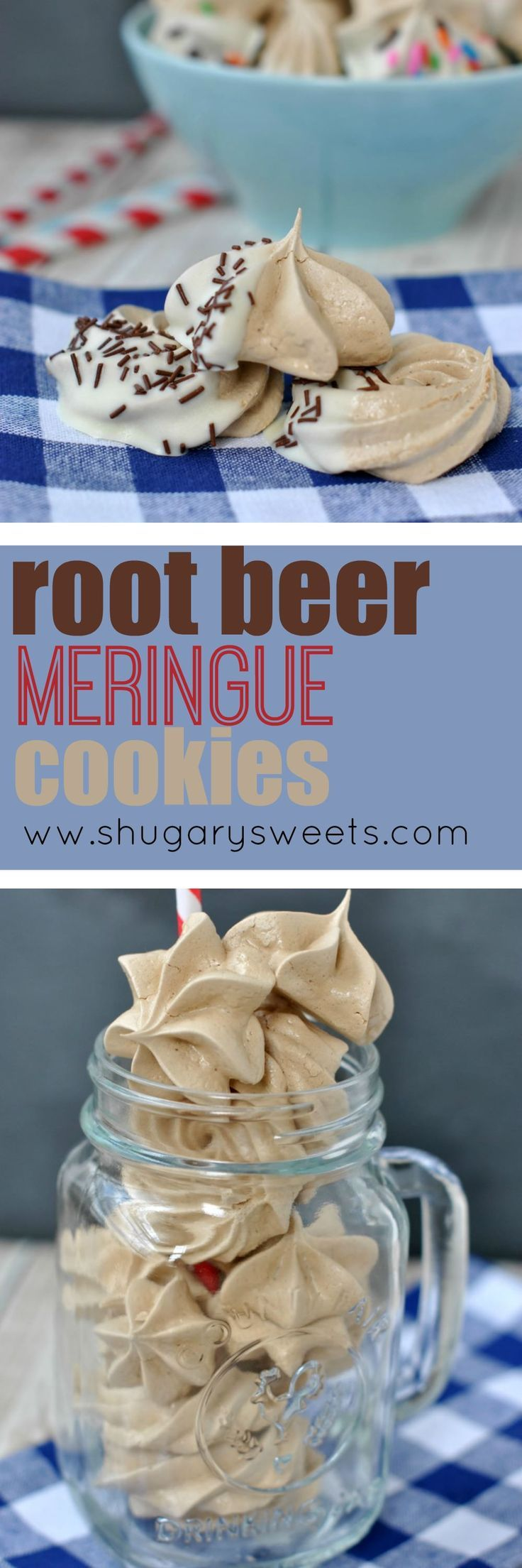 Root Beer Float Meringue Cookies are filled with the classic taste of summer, in a sweet cookie! Chewy, crunchy, these will go fast at your next BBQ.