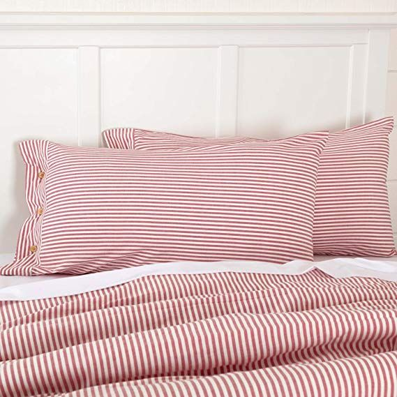Amazon Com Piper Classics Farmhouse Ticking Stripe Red King Sham 21 X 37 Bed Pillow Cover Home Kitchen Bed Pillow Covers Bed Pillows Pinstripe Bedding