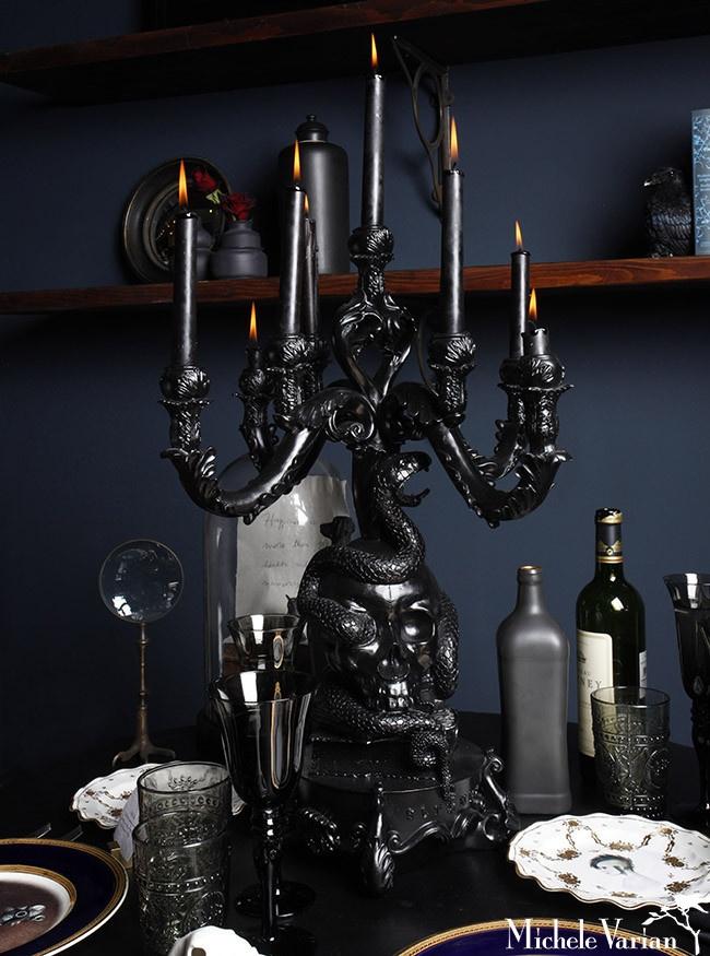 Giant Black Skull Candelabra