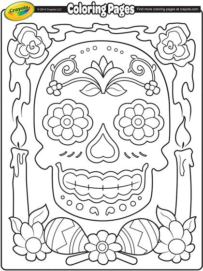 Dia de los Muertos Coloring Page. I have a little book about this on my shel behind my desk. It's not Halloween, so it should be o.k. for everyone.