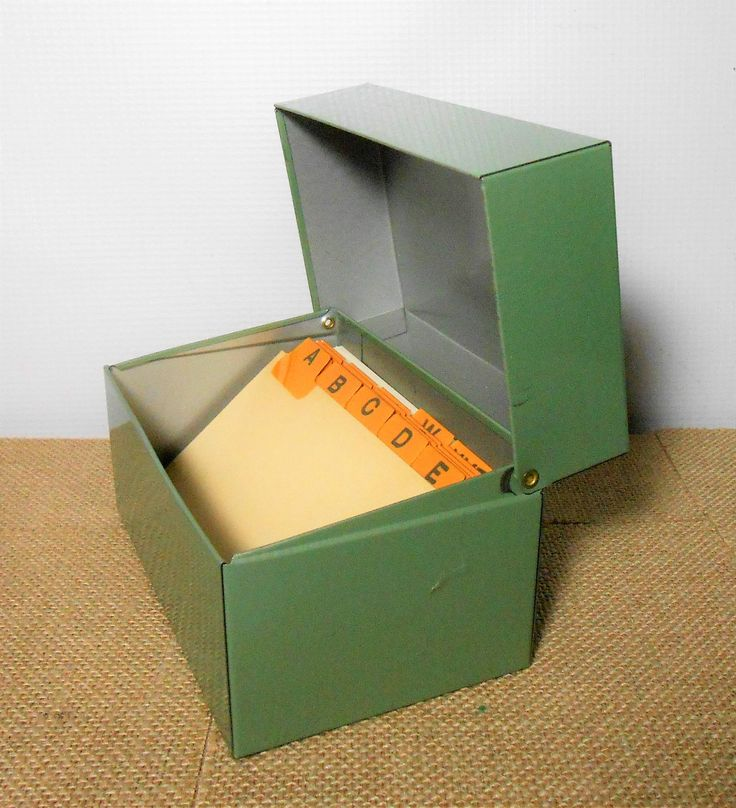 Vintage File Box, Metal File Box, Industrial, Recipe Card Holder, Recipe Box, File Box, Green, Index Card Holder, Office Supplies, Desk by TheBackShak on Etsy