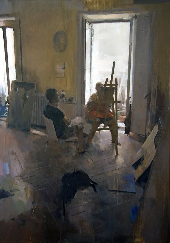 "Carlos San Millan ""En el estudio de A."" Oil on board, 116 x 81 cm. SOLD"