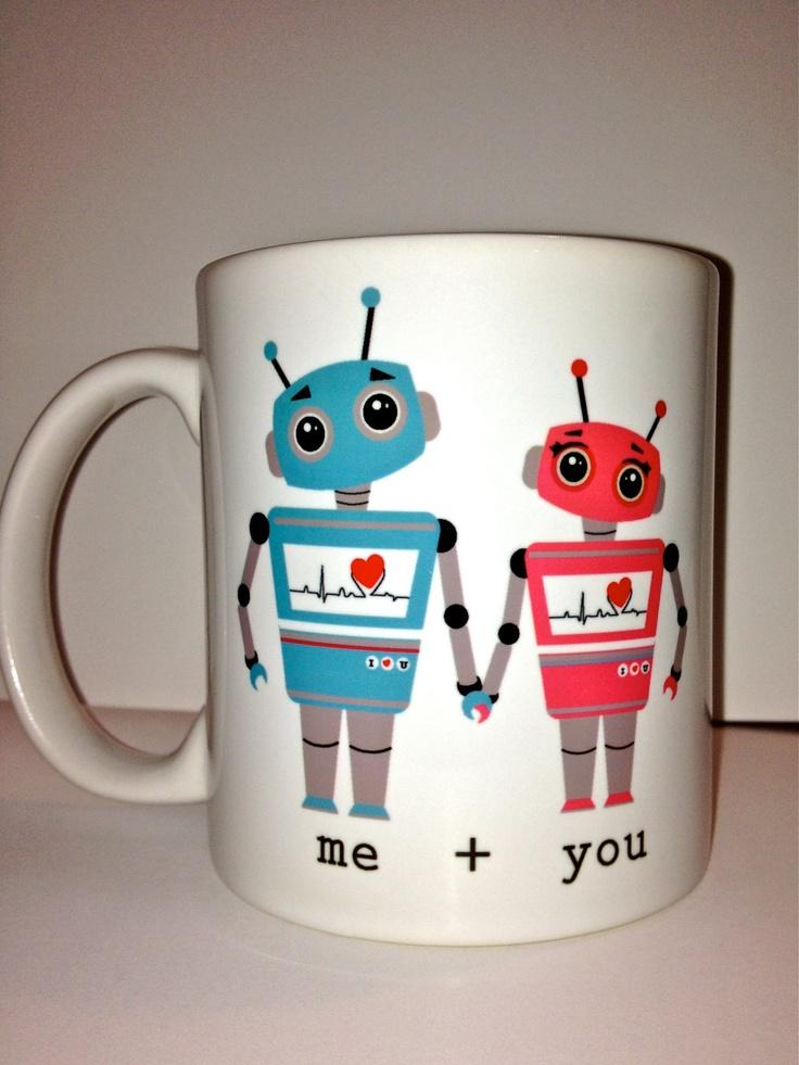 Valentines day love robot Ceramic Coffee mug- a cute robot mug design- anniversary gift for a special someone love. $16.00, via Etsy.