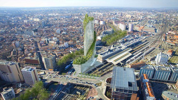 Occitanie Tower, une tour végétalisée / © Studio Libeskind/Cie de Phalsbourg) #Toulouse #tour #immeuble #végétal #architecture #projet #futur #urbanisme #immobilier #appartements #bureaux #hotel