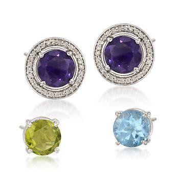 3-Pair Set of 12.70ct t.w. Multi-Gem Earring, .40ct t.w. Diamond Earring Jackets Ross-Simons. $195.00