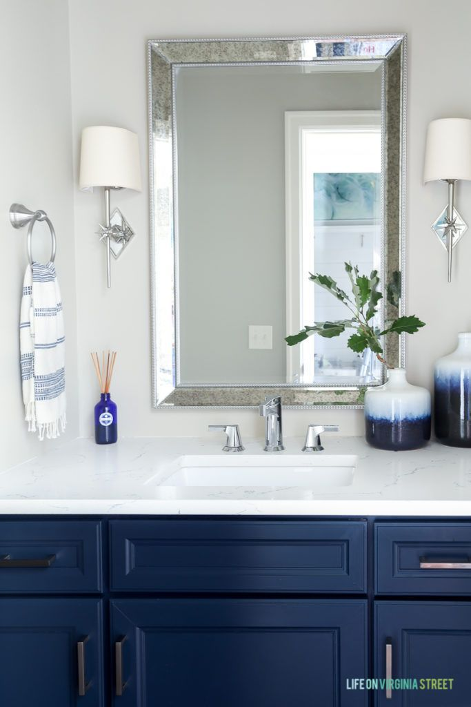 Five Years Before After Home Tour Blue Bathroom Bath