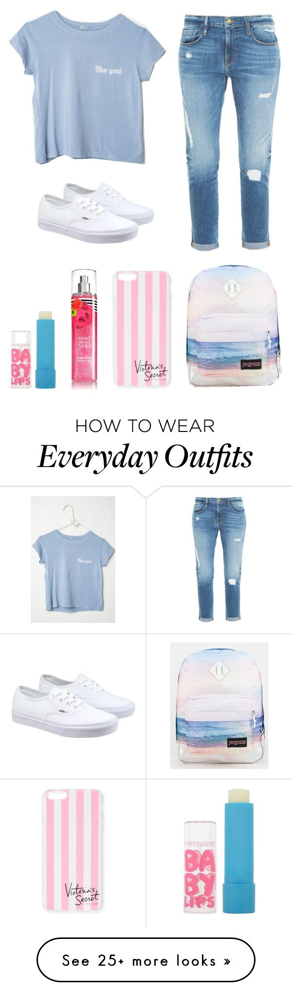 """Typical Everyday Outfit"" by gracekennedy19 on Polyvore featuring Frame Denim, Vans, JanSport, Victoria's Secret, Maybelline, women's clothing, women's fashion, women, female and woman"