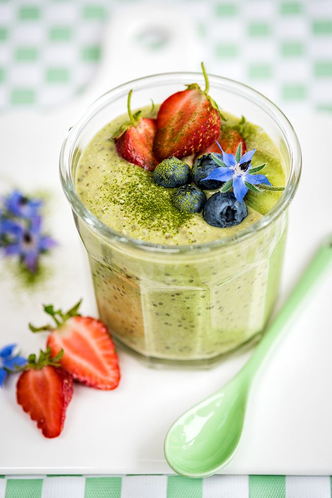 Matcha Overnight Oats with Vanilla and Chia Seeds