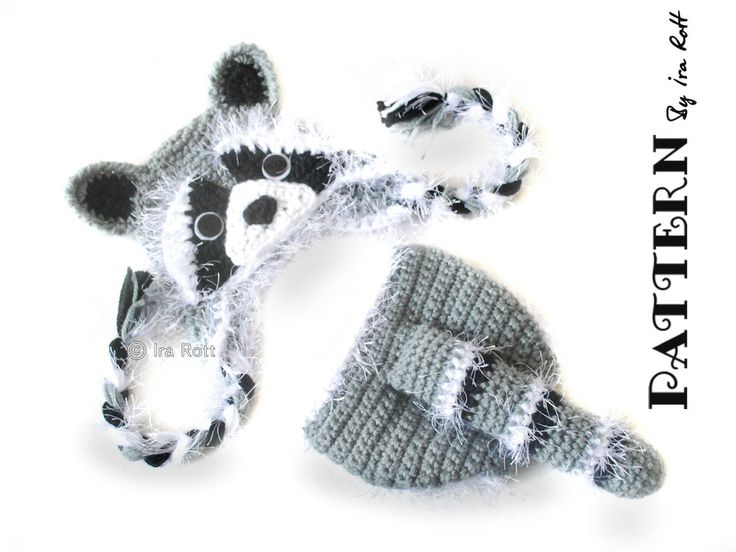 Crochet Pattern Rocky The Raccoon Baby Hat And Diaper