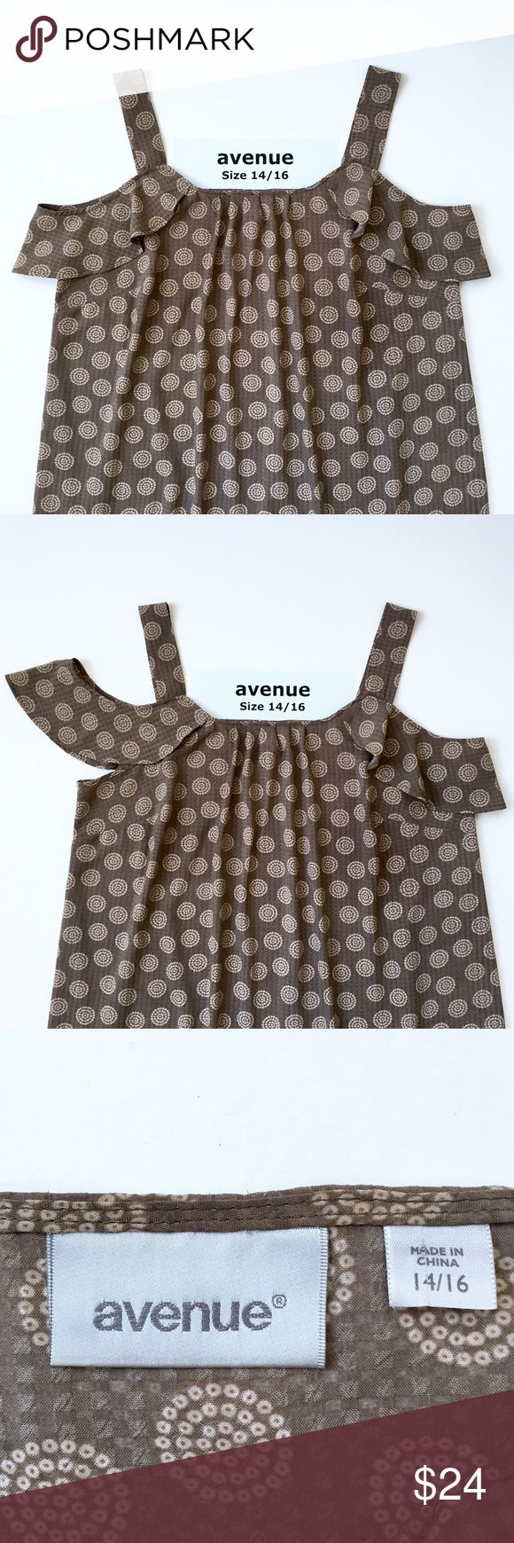 Avenue Silky Poly Tank w/Open Shoulder Drop Slv❤️ Brand: Avenue. Size: 14/16. 100% polyester. Circle medallion print. Colors: mushroom and tan. Designed with darts. Chest: 22 inches across measured flat. Length: 28.5 inches from top of shoulder strap to hem. Strap width is 1 3/4 inches wide. This item is used and in very good condition. Flowy. Light weight. Feminine. Cute and sexy. Effortless.❤️ Avenue Tops Tunics