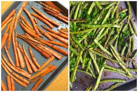 Za'atar Roasted Carrots and Green Beans