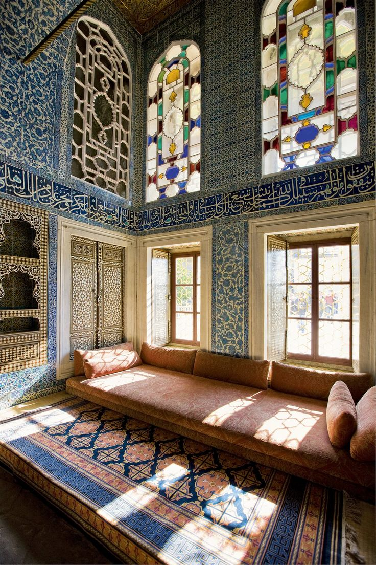 The so-called Baghdad Kiosk decorated with Iznik tiles and stained glass, is one of the most beautiful halls of the luxurious residence of the Ottoman sultans.