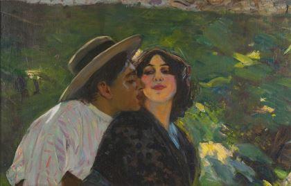 > zoom  > reaction      Pedro 'Pierre' Ribera (1867-1932) Romantic couple, oil on canvas. Collection Simonis & Buunk, The Netherlands.