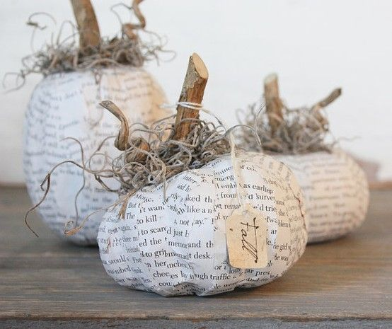 paper mache pumpkins by Ellennn
