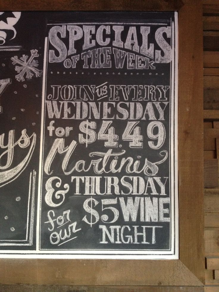 Weekly drink specials board | The eagle...that didn't land ...