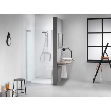 Get Wet by Sealskin IMPACT Swingdeur, 1000mm voor plaatsing tussen 2 muren. Chroom/zilver hoogglans, 8mm helder veiligheidsglas.