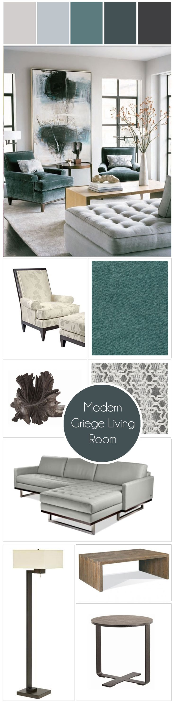 Canada's Got Colour Winner | Griege + Teal Modern Living Room. I think this is the color combo I'm going with to go with my turquoise chairs. Luxurious interior design ideas perfect for your projects. #interiors #design #homedecor www.covetlounge.net