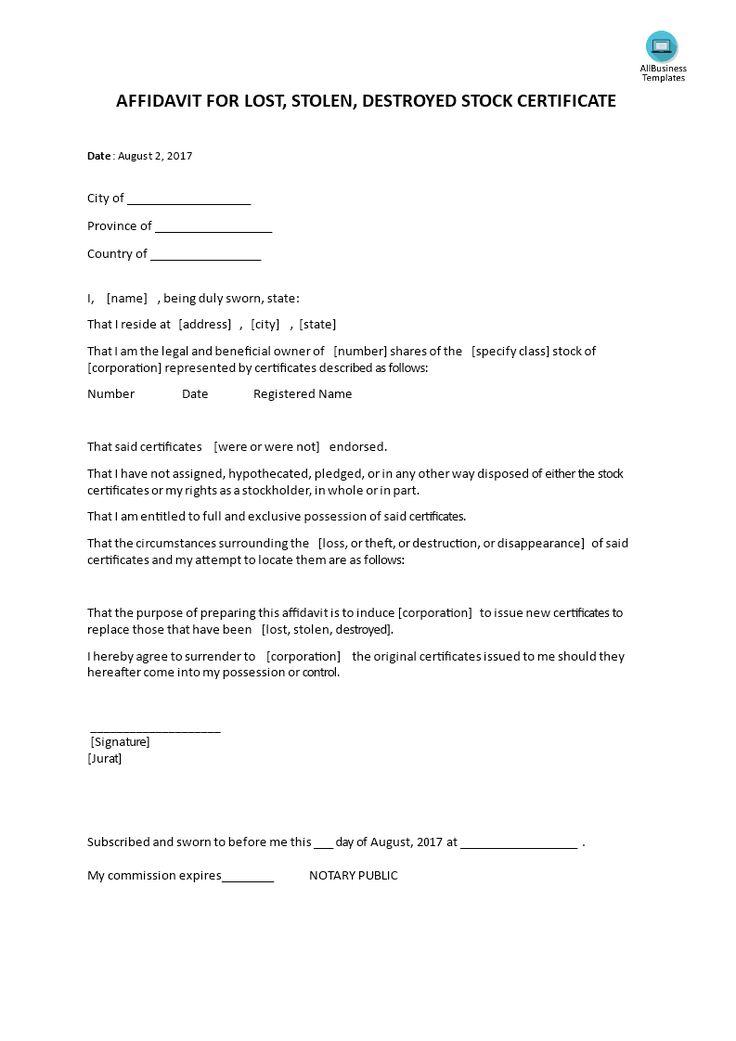 Affidavit For Lost Or Stolen Or Destroyed Stock Certificate Do