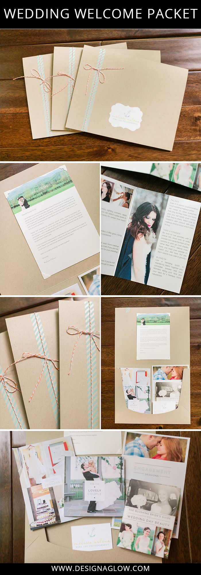 See our Wedding Welcome Packet and our large, kraft welcome folders in action! #designaglow