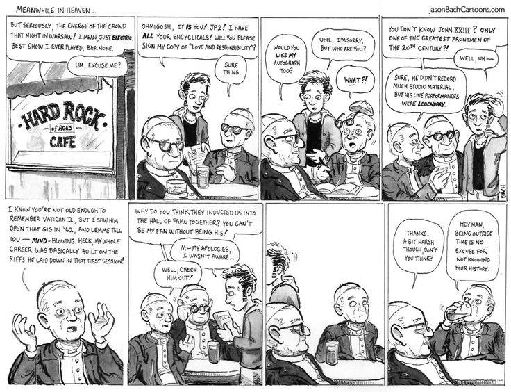 Jason Bach Cartoons | Meanwhile in Heaven (Hard Rock of Ages Cafe) #JP2 #JohnXXIII