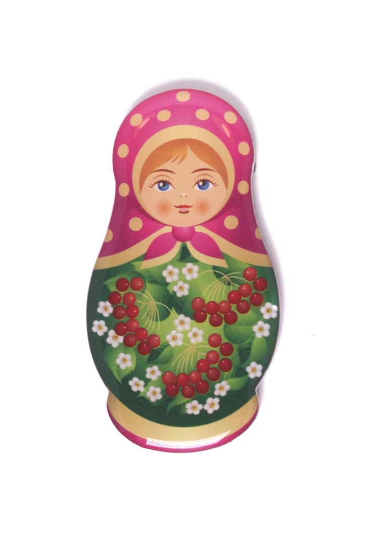 Russian fridge magnet matryoshka with red berries