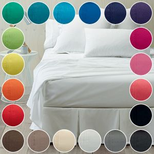 Our luxurious 250-thread count percale sheets and accessories are a blend of 50Percent cotton and 50Percent polyester. They are soft and smooth with long lasting durability and have an attached hem design that gives a quality finish. Fitted sheets have a 40cm depth and our mega fitted sheets have a 50cm depth. Please see your consultant for items, sizes and colour availability.