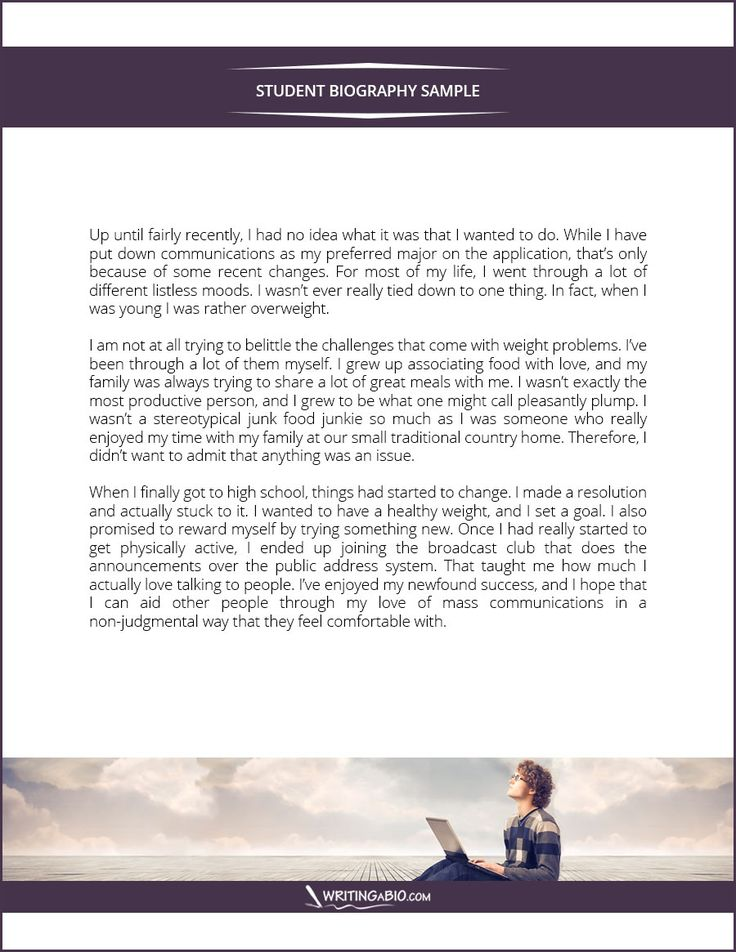 this amazing student biography sample will show you how to write a this amazing student biography sample will show you how to write a bio that will leave a great impression on the readers for more samples like this