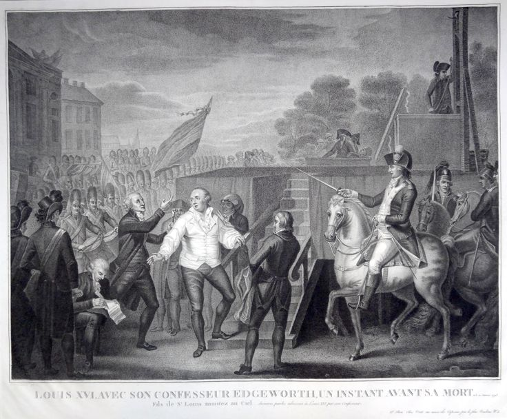 """""""Louis XVI avec son confesseur Edgeworth, un instant avant sa mort. Le 21 janvier 1793. Fils de St Louis montez au ciel... dernières paroles adressées à Louis XVI par son confesseur"""" gravé par Casenave d'après Benazech"""