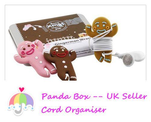 ♥ Cute Ginger Man cable wire earphone cord organiser UK seller Pink & Coffee ♥ | eBay