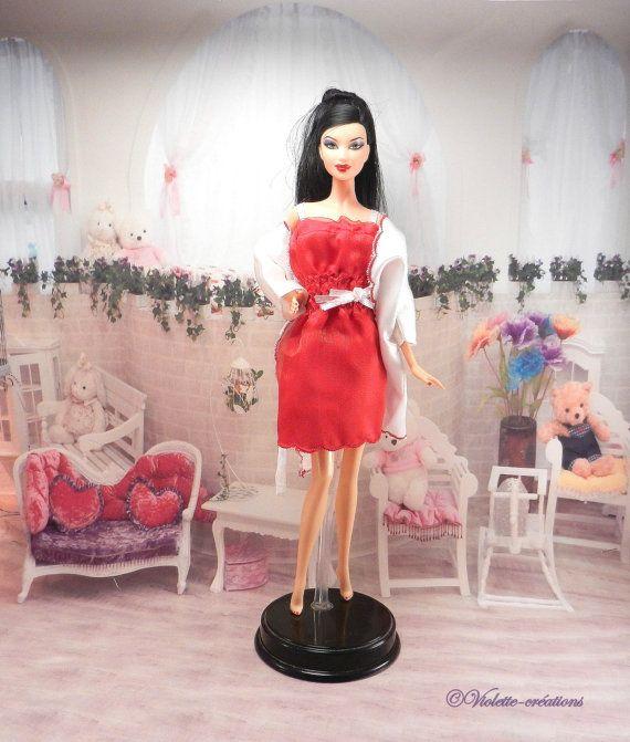 chemise de nuit robe de chambre satin pour poupée par violette55