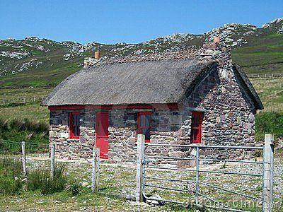 Stone Cottage In Ireland Stock Image Of Door Family