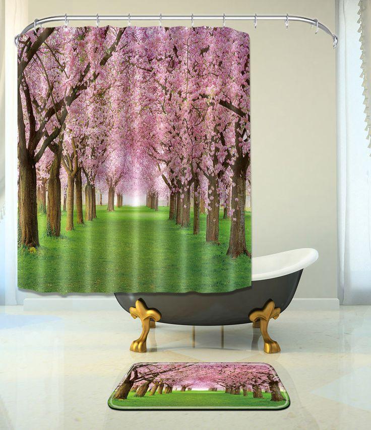 Flower Tree Bathroom Mat Waterproof Polyester Fabric Shower Curtain +12 Hooks 16