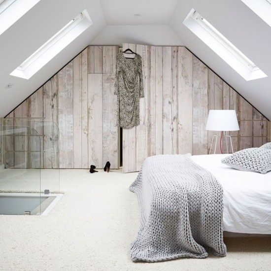 Loft bedroom, sloping ceiling, Scandinavian style, built in storage