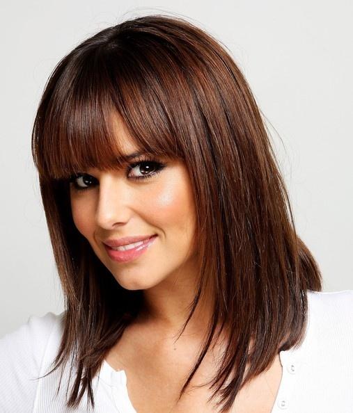 Cheryl Cole Medium Straight Cut with Bangs 2