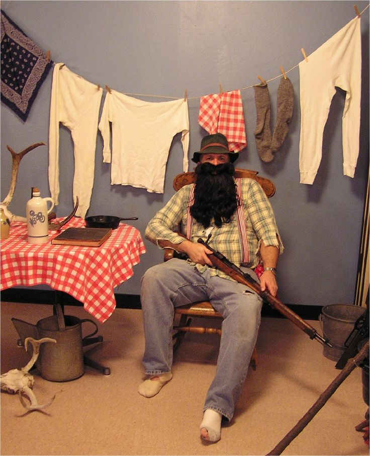 Hillbilly - minus the dude with the firearm :)  Clothesline with handkerchiefs, tshirts & socks would work, though!
