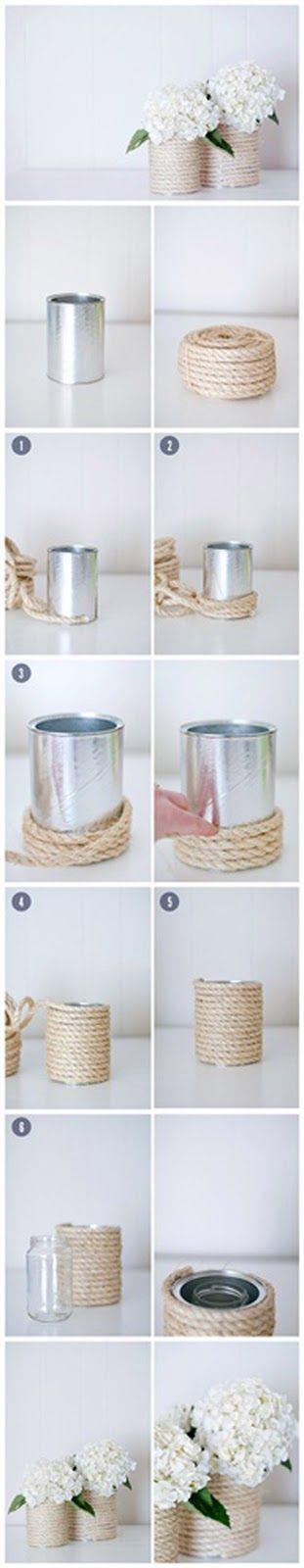 Tutorial de base rústica para centro de mesa utilizando cuerda de yute o cabuya. #ManualidadesParaFiestas