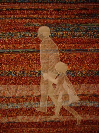 """A Walk With Father""  patchwork with applique and machine embroidery by Gina Smith"